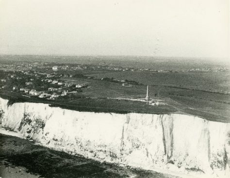 Aerial view of Dover Patrol Memorial, Coastguard Station and The Leas.  Post WW2