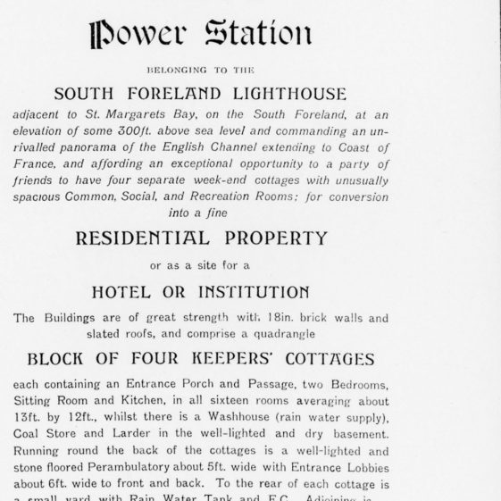 Sale of the South Foreland Lighthouse power station, four keepers' cottages and land.  1922