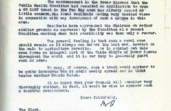 Correspondence between St Margaret's Ratepayers Association and the Clerk of Dover RDC re a proposed Go Kart track at Fan Bay. 1960