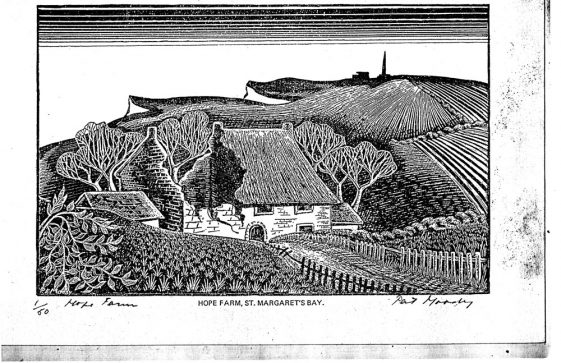 Woodcut of Hope Farm St Margaret's Bay by Pat Moody