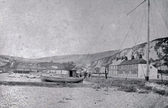 Coastguard Cottages and Atkins family St Margaret's Bay. 1865