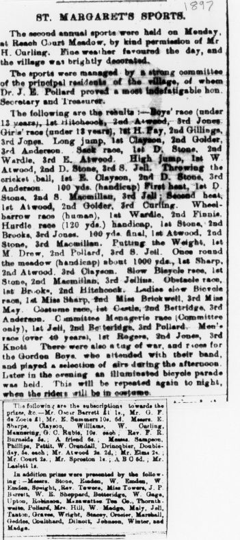 Details of 2nd St Margaret's Sports Day. 1897