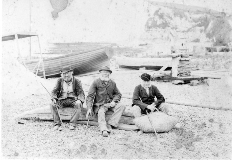 Fishermen and boats on St Margaret's Bay beach.19thc