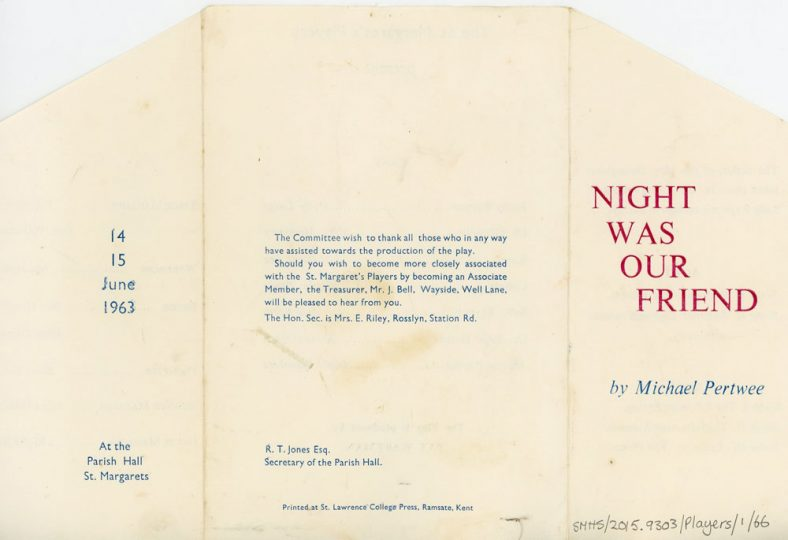 Programme of St Margaret's Players production 'Night Was Our Friend'. 1963