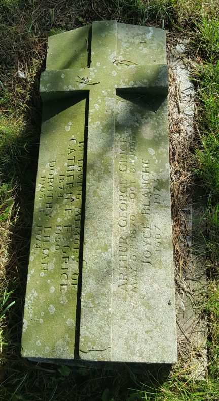 Gravestone of GRICE Arthur George 1955; GRICE Catherine E 1950; GRICE Dorothy Lilian 1974; GRICE Joyce Blanche 1973   Dawn Sedgwick