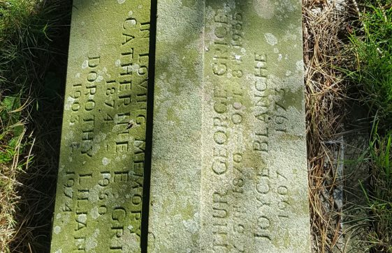 Gravestone of GRICE Arthur George 1955; GRICE Catherine E 1950; GRICE Dorothy Lilian 1974; GRICE Joyce Blanche 1973