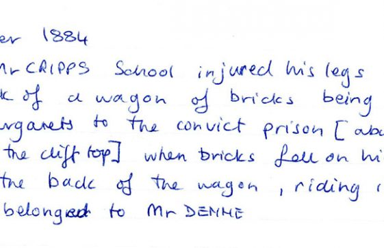 Note concerning a pupil from  Cliffe School who had injured himself whilst on a journey . dated 1884