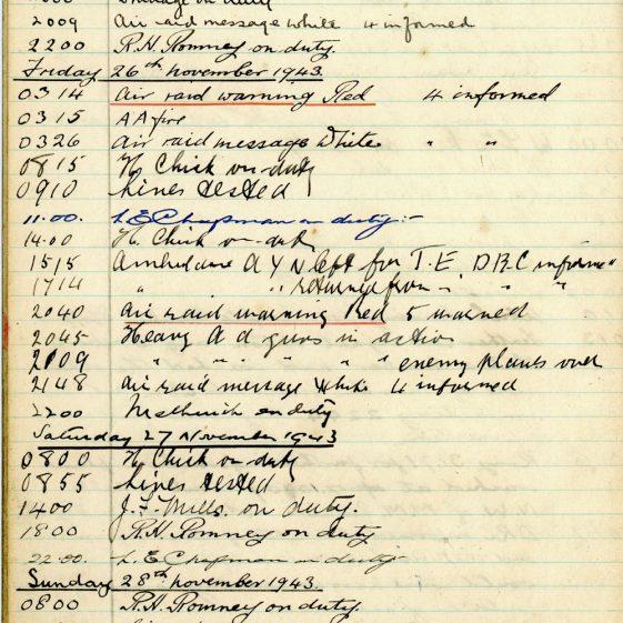 St Margaret's ARP (Air Raid Precautions) Log. Volume 8. 25 October 1943 - 10 August 1944. Pages 11-21