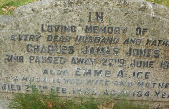 Gravestone of JONES Charles James 1962; JONES Emma Alice 1985