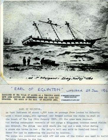 Wreck of the Earl of Eglinton off St Margaret's Bay. 29th December 1860