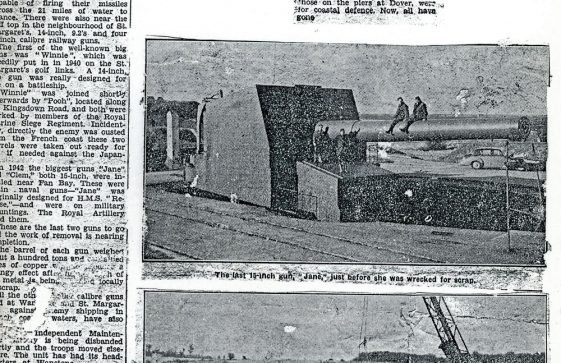 End of the big guns at St Margaret's. Dover Express 15 March 1957