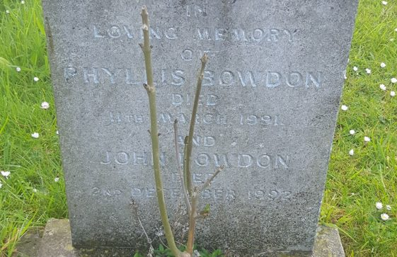 Gravestone of BOWDON Phyllis 1990; BOWDON John 1992