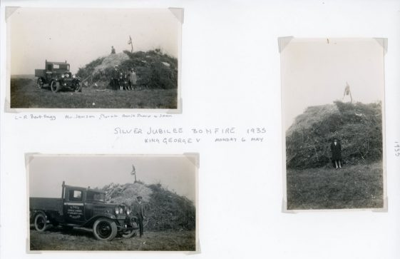 Bonfire under construction for the Jubilee celebrations on the 6th May 1935