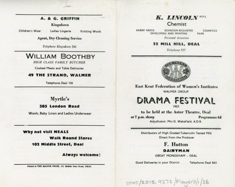 Programme for the WI Drama Festival 1963