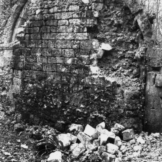 St Nicholas Church at Oxney in ruins. 1970s