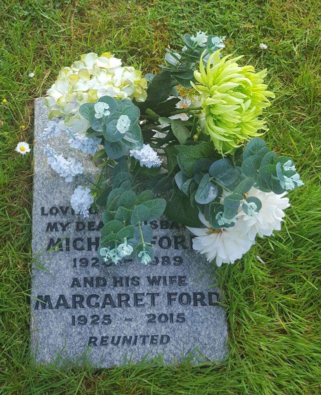 Gravestone of FORD Michael 1989; FORD Margaret 2015 | Dawn Sedgwick