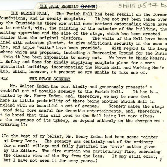 History of the Parish Hall. 1904 - 1916