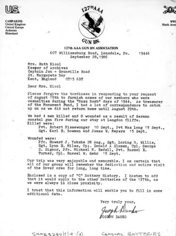 Letter from Joseph Danko of the Anglo American Association with WW2 casualties at Langdon Cliffs. 1986
