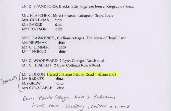 List of tenants of various properties in St Margaret's. 8th September 1932