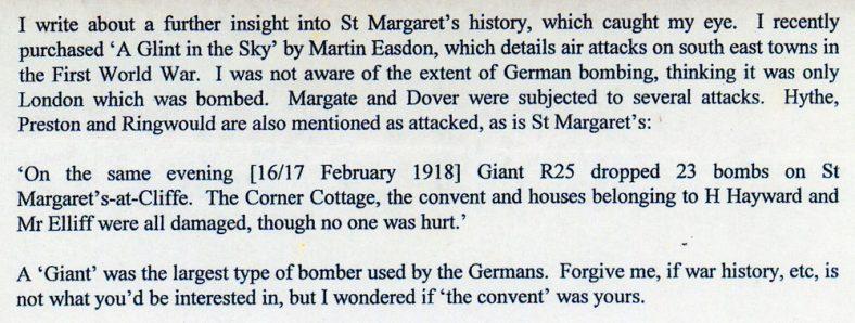 Bombing of properties in St Margaret's during WW1