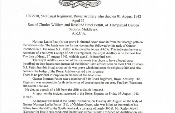 Gunner Norman Pettitt 540 Coast Regiment Royal Artillery. died 1942