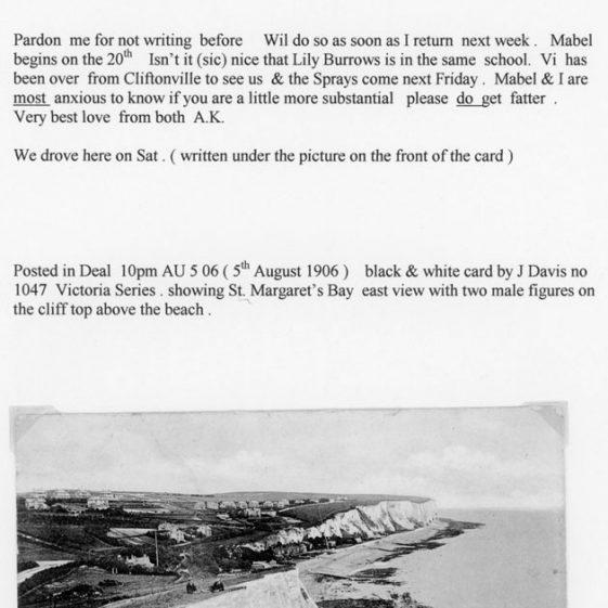 St Margaret's Bay from Ness Point. postmark 1906