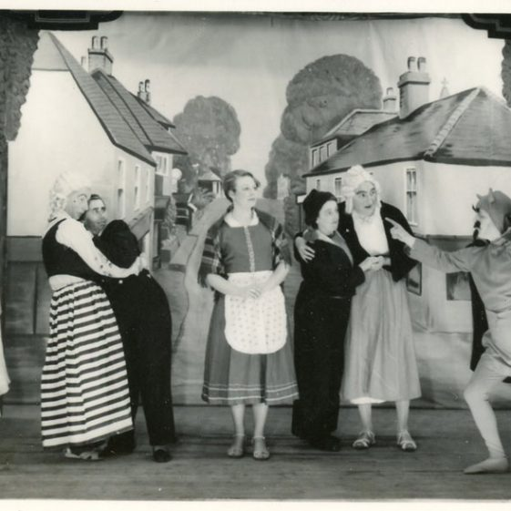 Scene from St Margaret's Players Pantomime 'Beauty and the Beast'.1955