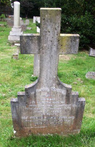 Gravestone of CURLING Sarah 1919; CURLING Henry John 1936