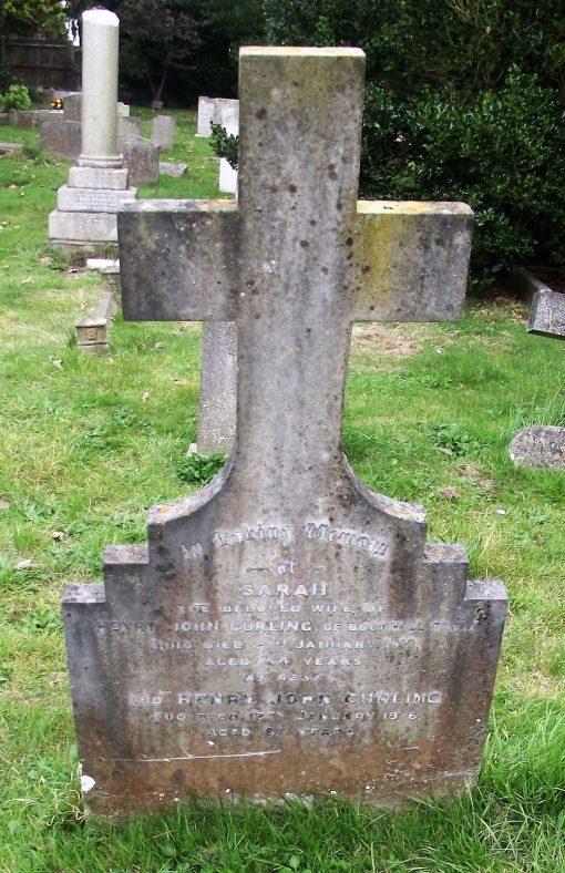Gravestone of CURLING Sarah 1919; CURLING Henry John 1935.