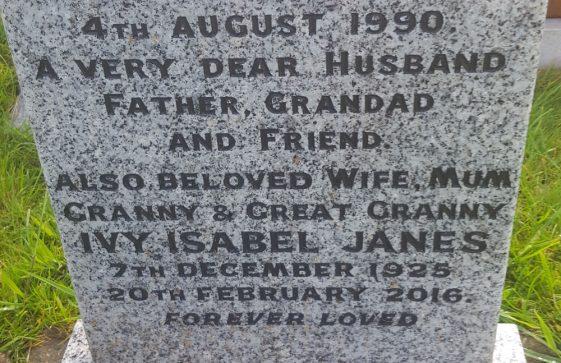 Gravestone of JANES Alan George 1990; JANES Ivy Isabel 2016