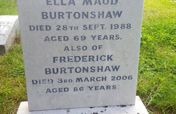 Gravestone of BURTONSHAW Ella Maud 1988; BURTONSHAW Frederick 2006