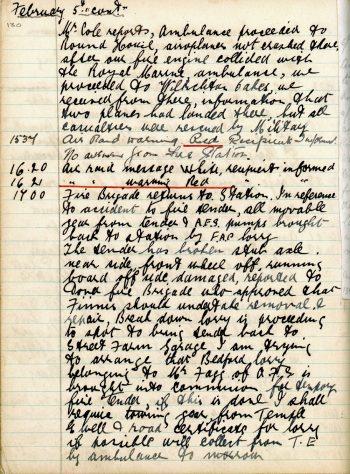 St Margaret's ARP (Air Raid Precautions) Log. Volume 3. 2 November 1940 - 17 February 1941. Pages 130-136