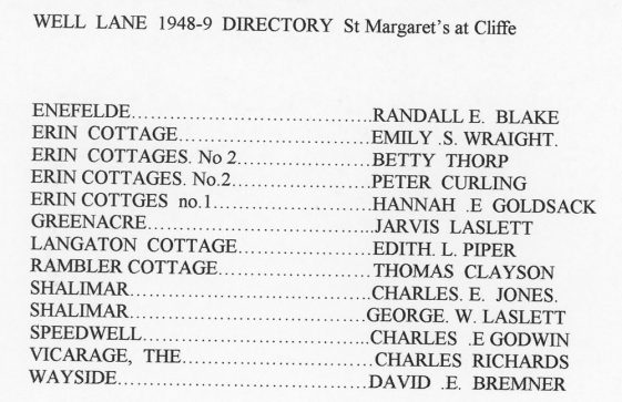 Well Lane residents 1948-1949