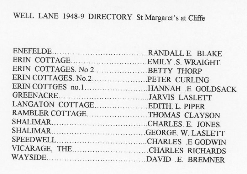 Well Lane, directory extract. 1948-1949