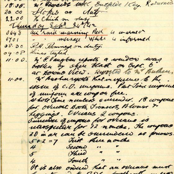 St Margaret's ARP (Air Raid Precautions) Log. Volume 6. 17 July 1942 - 16 February 1943. Pages 48-57