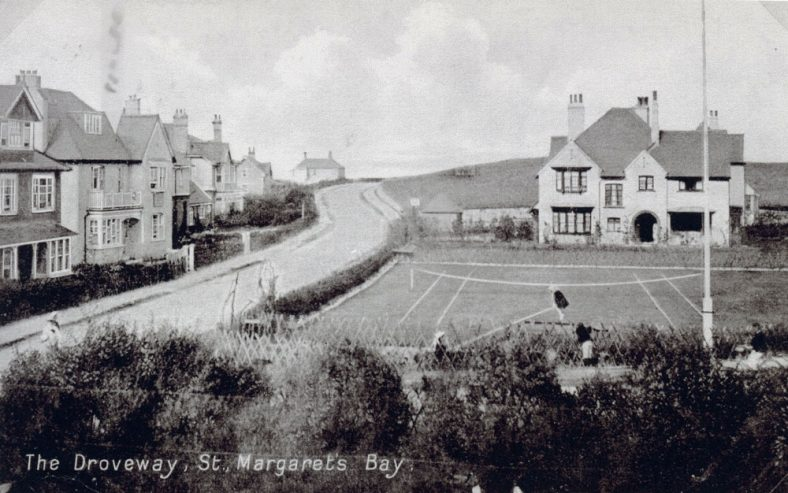 The Droveway, showing Penlee School on the left with the tennis courts to the right.  c1910