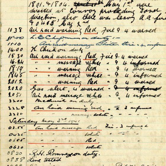 St Margaret's ARP (Air Raid Precautions) Log. Volume 4. 18 February 1941 - 25 September 1941. Pages 54-62