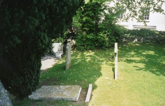 Gravestone damaged by vandals. June 2003