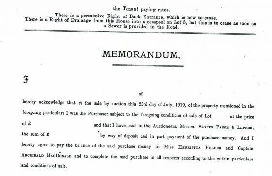 Part of the conditions of sale for The Hermitage Estate, Bay Hill. 1919