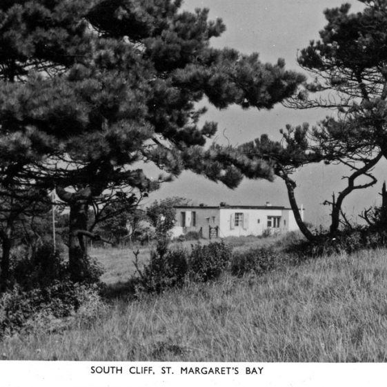Cliff top blockhouse where Peter Ustinov was billeted during WW2; a cartoon