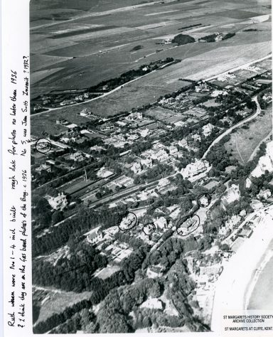 Aerial view from St Margaret's Bay looking inland towards Bockhill Farm. c1926-1936