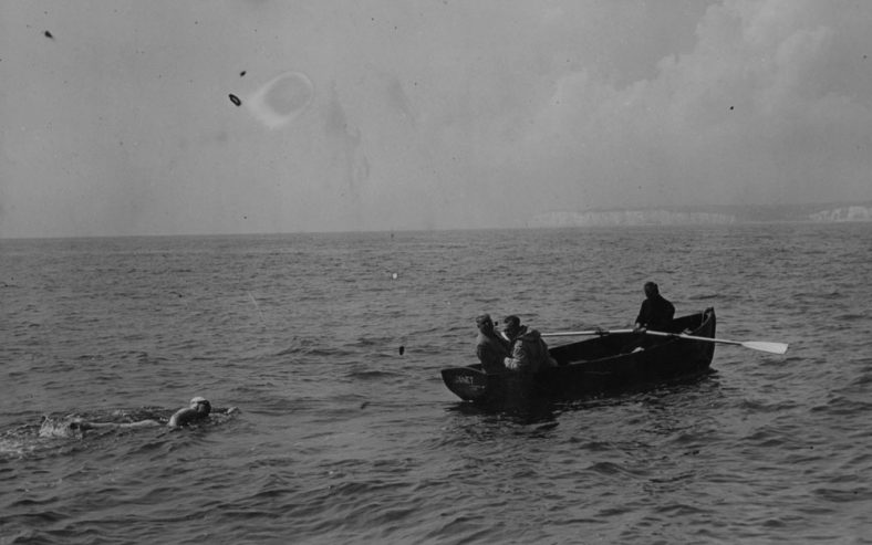 Brenda Fisher with her support boat in August 1954