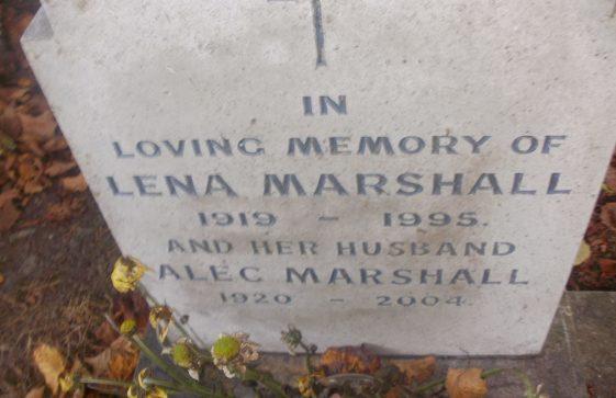 Gravestone of MARSHALL Alec 2004; MARSHALL Lena 1995