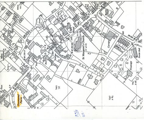 OS Map of St Margaret's at Cliffe in 1956
