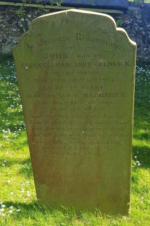 Gravestone of GOLDSACK John 1832; GOLDSACK Margaret 1862; GOLDSACK George 1876 | Dawn Sedgwick