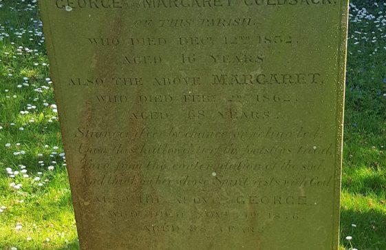 Gravestone of GOLDSACK John 1832; GOLDSACK Margaret 1862; GOLDSACK George 1876