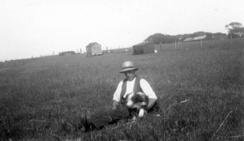 Ernie Sharpe and 'Yo-Yo' the farmdog on Bockhill Farm