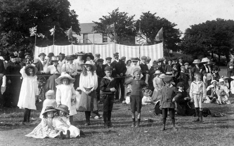 Children and spectators at St Margaret's Sports Day. c1910