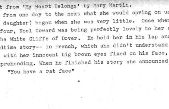Extract from 'My Heart Belongs' by Mary Martin which mentions Noel Coward at St Margaret's