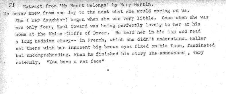 Extract from 'My Heart Belongs' by Mary Martin with mention of Noel Coward at St Margaret's